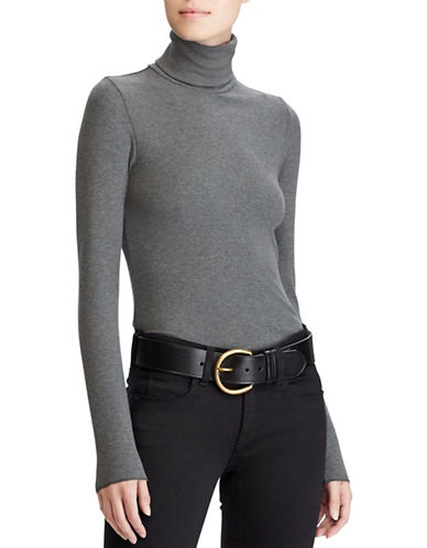 Polo Ralph Lauren Ribbed Turtleneck Knit Shirt-GREY-X-Small