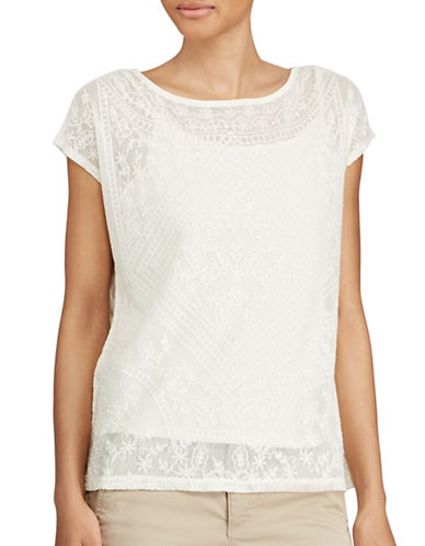 Lauren Ralph Lauren Petite Embroidered Sheer Top-NATURAL-Petite Large