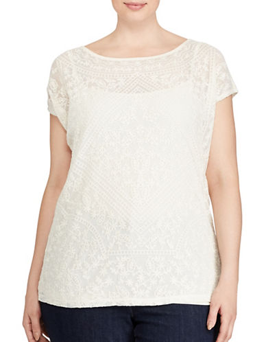 Lauren Ralph Lauren Plus Embroidered Sheer Top-NATURAL-2X