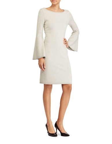 Lauren Ralph Lauren Chevron Bell Sleeve Dress-GREY-Large