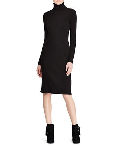 Lauren Ralph Lauren Turtleneck Cotton Dress-BLACK-Medium