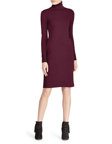 Lauren Ralph Lauren Turtleneck Cotton Dress-RED-Large