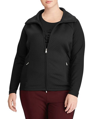 Lauren Ralph Lauren Plus Quilted Stretch Cotton Jacket-POLO BLACK-1X