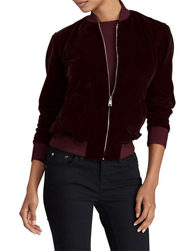 Lauren Ralph Lauren Fucetta Velvet Jacket-RED-Medium