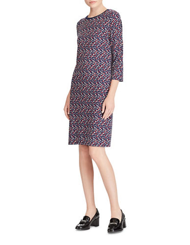 Lauren Ralph Lauren Petite Geometric Jersey Dress-BLUE MULTI-Petite Large