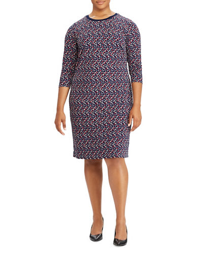 Lauren Ralph Lauren Plus Geo-Print Jersey Dress-NAVY-2X 89501465_NAVY_2X