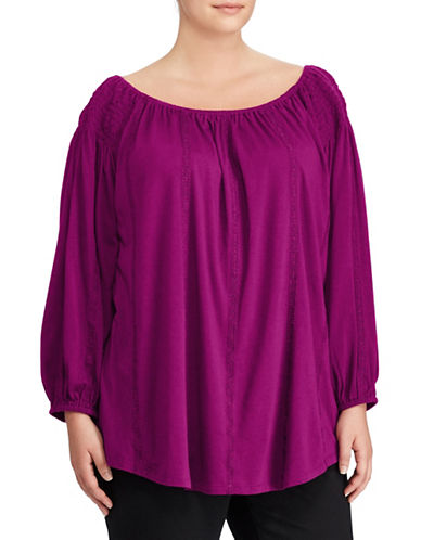 Lauren Ralph Lauren Plus Smocked Off-the-Shoulder Top-PURPLE-2X