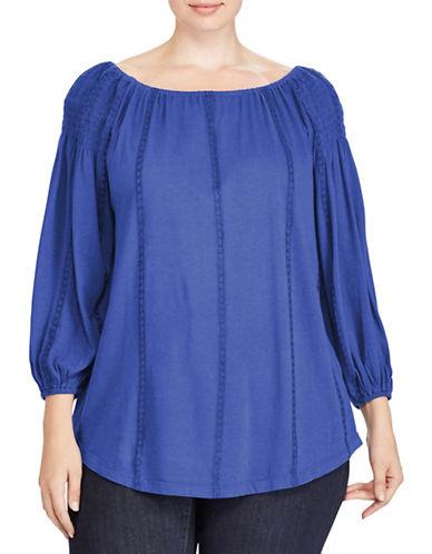 Lauren Ralph Lauren Plus Smocked Off-the-Shoulder Top-BLUE-2X