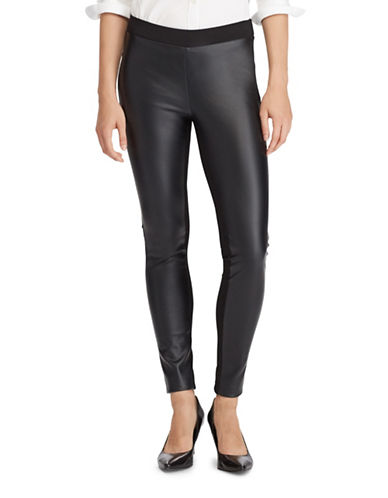 Lauren Ralph Lauren Paneled Ponte High-Rise Leggings-BLACK-2