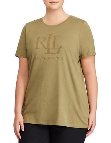 Lauren Ralph Lauren Plus Studded Jersey Tee-GREEN-1X