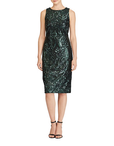 Lauren Ralph Lauren Sequined Lace Sheath Dress-BLACK-10