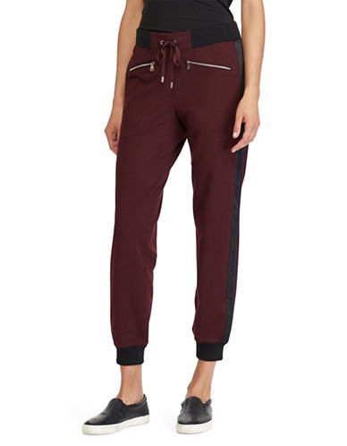 Lauren Ralph Lauren Contrast Athletic Jogger Pants-RED-Large