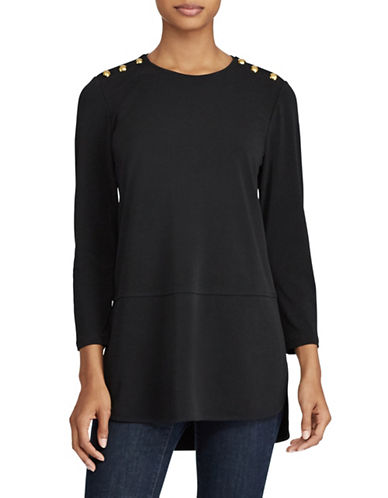 Lauren Ralph Lauren Button-Shoulder Jersey Top-BLACK-Small
