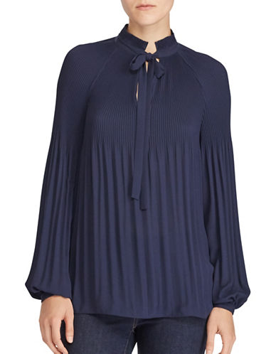 Lauren Ralph Lauren Georgette Pleated Blouse-NAVY-X-Large