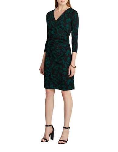 Chaps Floral Jersey Dress-GREEN/BLACK-X-Small