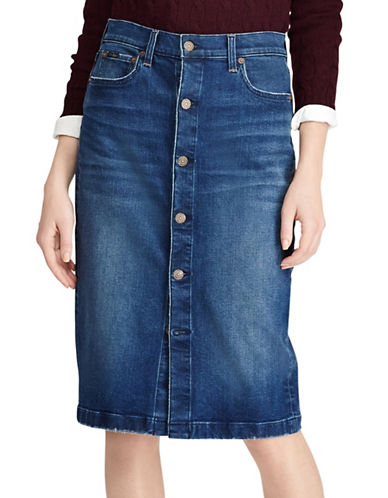Polo Ralph Lauren Buttoned Denim Pencil Skirt-BLUE-8