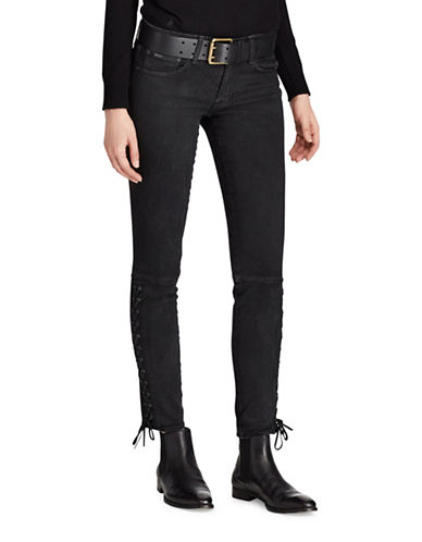 Polo Ralph Lauren Lace-Up Tompkins Mid-Rise Skinny Jeans-BLACK-29