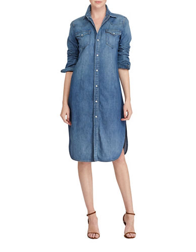 Polo Ralph Lauren Denim Western Cotton Shirtdress-BLUE-X-Small
