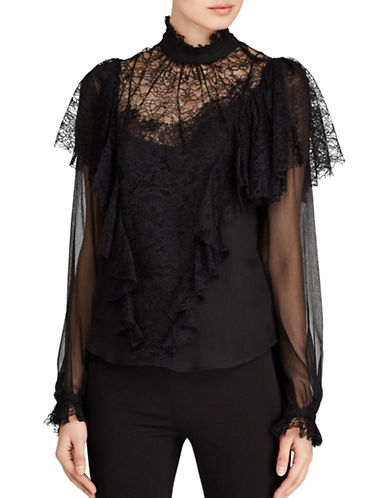 Polo Ralph Lauren Lace Chiffon Blouse-BLACK-12