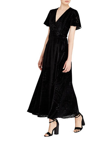 Polo Ralph Lauren Burn-Out Velvet Wrap Maxi Dress-POLO BLACK-4