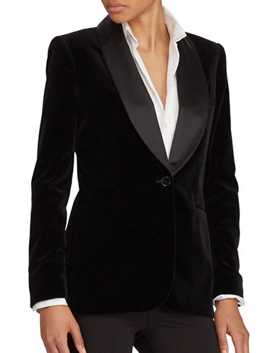 Polo Ralph Lauren Silk-Trim Velvet Blazer-POLO BLACK-14