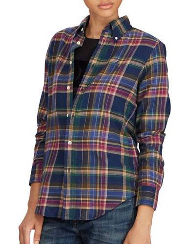 Polo Ralph Lauren Classic-Fit Plaid Sport Shirt-BLUE-Medium