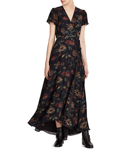 Polo Ralph Lauren Silk Georgette Wrap Maxidress-BLACK MULTI-14