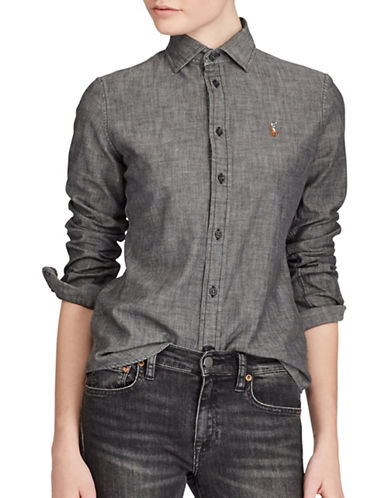 Polo Ralph Lauren Slim-Fit Chambray Cotton Button-Down Shirt-BLACK-8