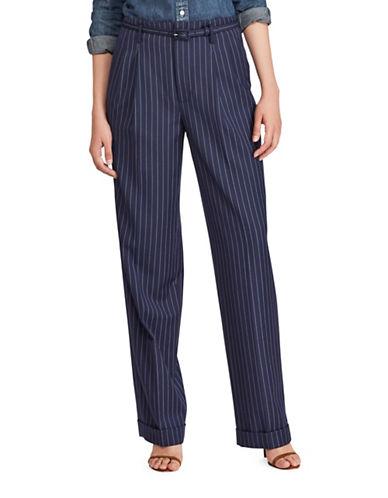 Polo Ralph Lauren Striped Wool Straight-Leg Pants-NAVY-6
