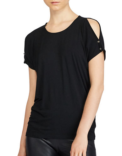 Lauren Ralph Lauren Cold Shoulder Jersey Top-BLACK-X-Large