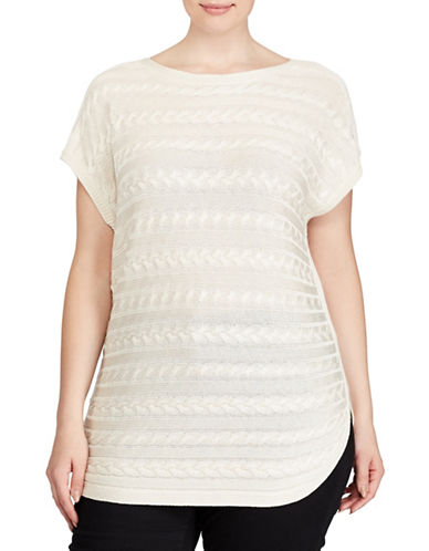 Lauren Ralph Lauren Plus Cable-Knit Short-Sleeve Sweater-NATURAL-2X