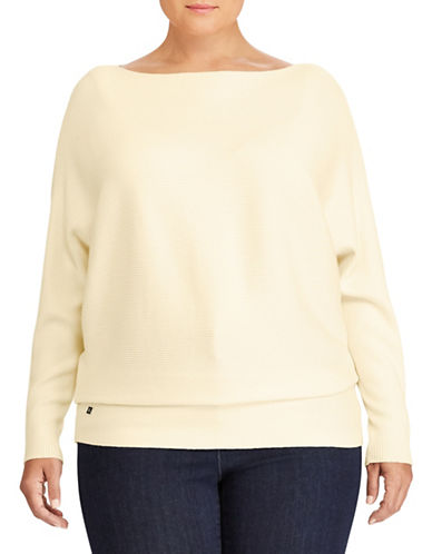Lauren Ralph Lauren Plus Cotton-Blend Dolman Sweater-NATURAL-2X
