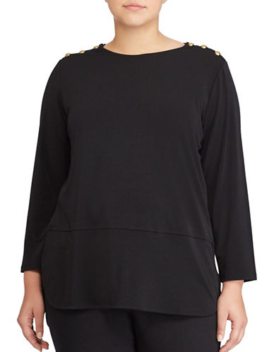 Lauren Ralph Lauren Plus Button-Shoulder Jersey Top-BLACK-1X