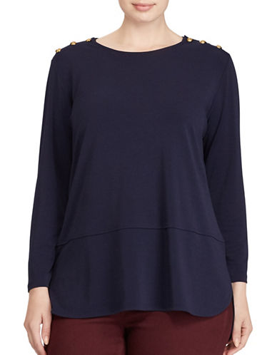 Lauren Ralph Lauren Plus Button-Shoulder Jersey Top-BLUE-1X 89380684_BLUE_1X