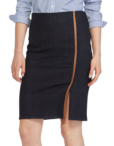 Lauren Ralph Lauren Plus Stretch Denim Pencil Skirt-BLUE-18W