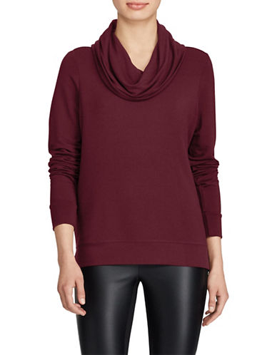 Lauren Ralph Lauren French Terry Funnelneck Top-RED-Small