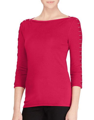 Lauren Ralph Lauren Lace-Up Boat Neck Top-RED-Small