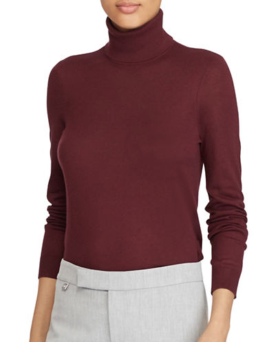 Lauren Ralph Lauren Stretch Turtleneck Top-RED-X-Large