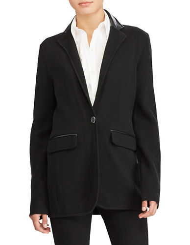Lauren Ralph Lauren Single-Button Sweater Jacket-BLACK-Medium