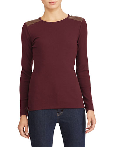Lauren Ralph Lauren Katy Long Sleeve Knit Top-RED-X-Large 89526689_RED_X-Large