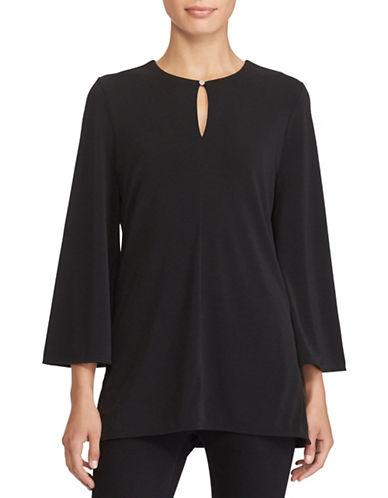 Lauren Ralph Lauren Jersey Bell Sleeve Tunic-BLACK-X-Large