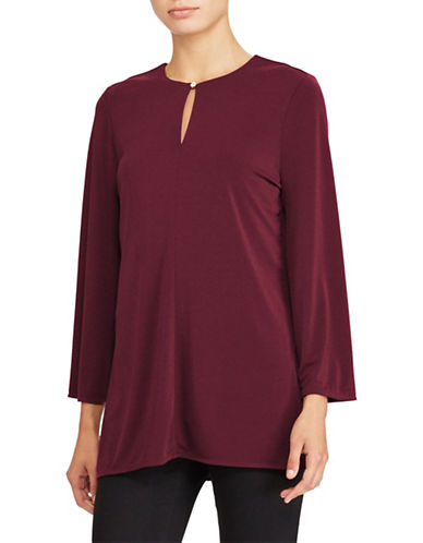 Lauren Ralph Lauren Jersey Bell Sleeve Tunic-RED-Small