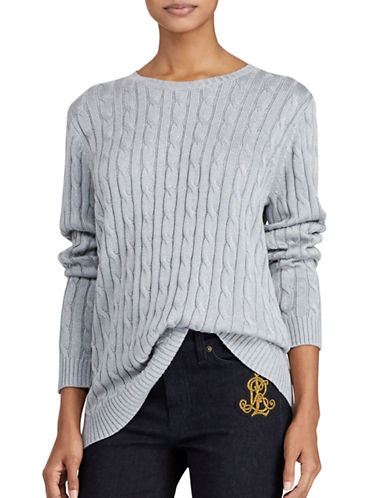Lauren Ralph Lauren Monogram Cable-Knit Sweater-GREY-Medium