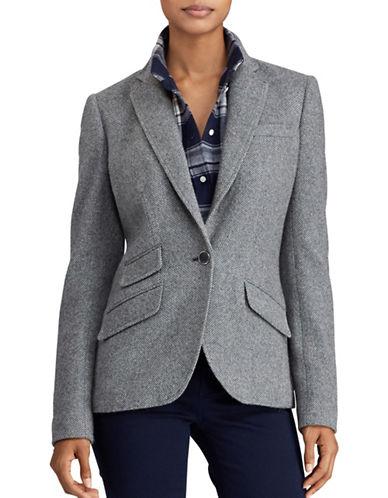Lauren Ralph Lauren Single-Button Tweed Blazer-GREY-2