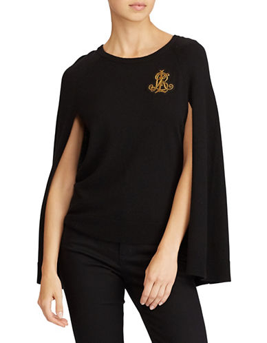 Lauren Ralph Lauren Open Sleeve Sweater-BLACK-X-Large