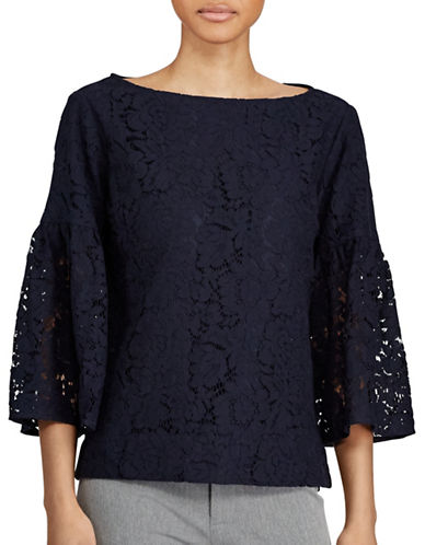 Lauren Ralph Lauren Lace Boatneck Top-NAVY-Small