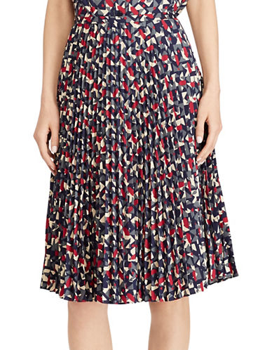 Lauren Ralph Lauren Pleated Crepe A-Line Skirt-MULTI-14