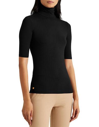 Lauren Ralph Lauren Stretch Jersey Turtleneck Top-BLACK-X-Large