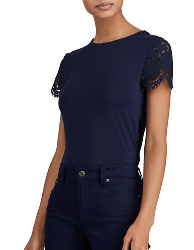 Lauren Ralph Lauren Lace-Sleeve Top-NAVY-Medium
