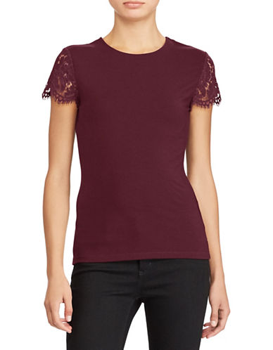 Lauren Ralph Lauren Lace-Sleeve Top-RED-X-Large